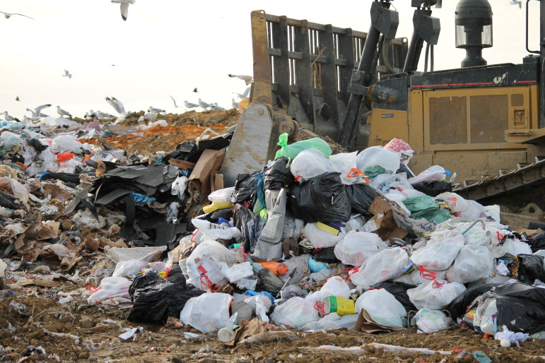 Unseparated bags are piled in the Iowa City Landfill. (Sujin Kim/IowaWatch)