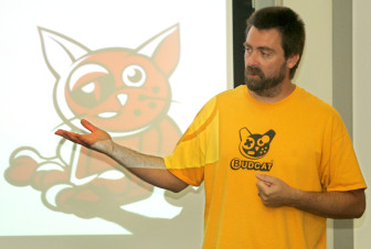 Budcat Creations' Jeremy Andersen gives a presentation at the Jacobsen Entrepreneurship Academy on Wednesday, July 15, 2009. (Photo courtesy of the Iowa City Press-Citizen)