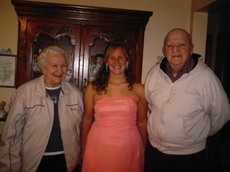 Sara Kurt with her grandparents, Kay Daly and Jimmy Daly. Jimmy died in 2009 but his battle with cancer led Kurt to start a career in oncology nursing.