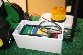 ET, a prototype of a tractor rollover alert device created by graduate students at Iowa State University.