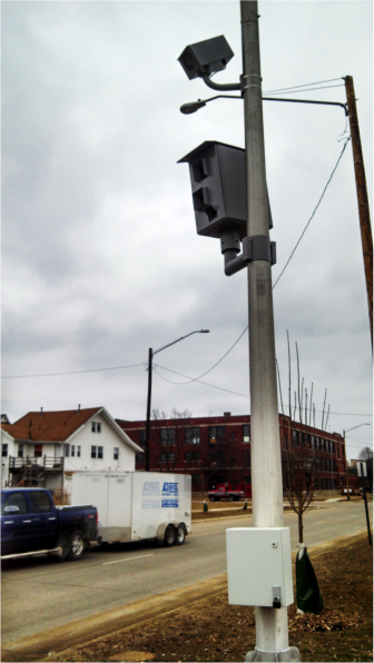 A speed and red light camera monitors the intersection of Second Ave and Sixth Street SW in Downtown Cedar Rapids.