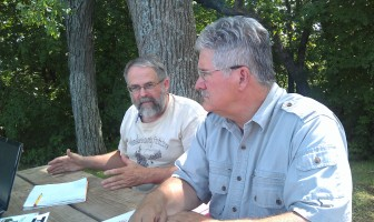 Jack Knight (left) and Ric Zarwell, leaders of the Allamakee County Protectors, talk about their efforts to restrict frac sand mining in their county.