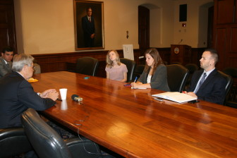 Iowa Gov. Terry Branstad was interviewed by IowaWatch reporters (left to right) Sarah Hadley, Amber Rouse and Jacob Luplow on July 7, 2014.