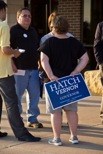Democrats supporting state Sen. Jack Hatch's gubernatorial candidacy gather before the Sept. 20, 2014, gubernatorial debate in Burlington, Iowa.