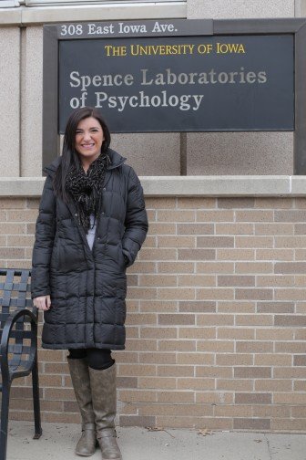 Bridget Stevens, outside at the University of Iowa Spence Laboratories in this Feb. 16, 2015, photo.