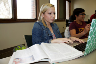 Simpson College student Aimee Loats taking an online quiz in her Communications 101 class on April 13, 2015.