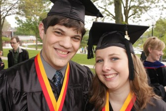 Katie Anthony and boyfriend, Ben Lucas, graduating from Simpson College in 2012. Anthony, who has cyclic vomiting syndrome (CVS), is a graduate student at Iowa State University now.