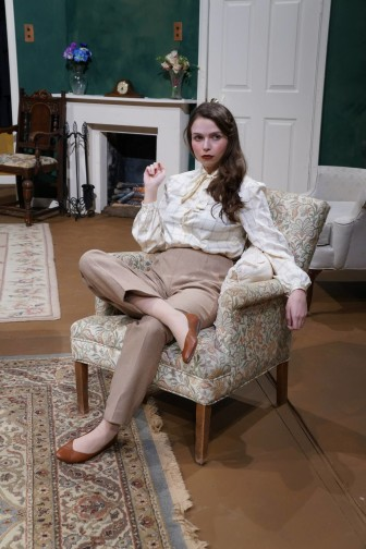 Cheyenne Goode, a theater major at Grand View University, deals with postural orthostatic tachycardia syndrome (POTS) while tackling college studies. She also is involved in theater, shown here at Leslie Caldwell for a 2014 production of Agatha Christie's 'The Mousetrap.'