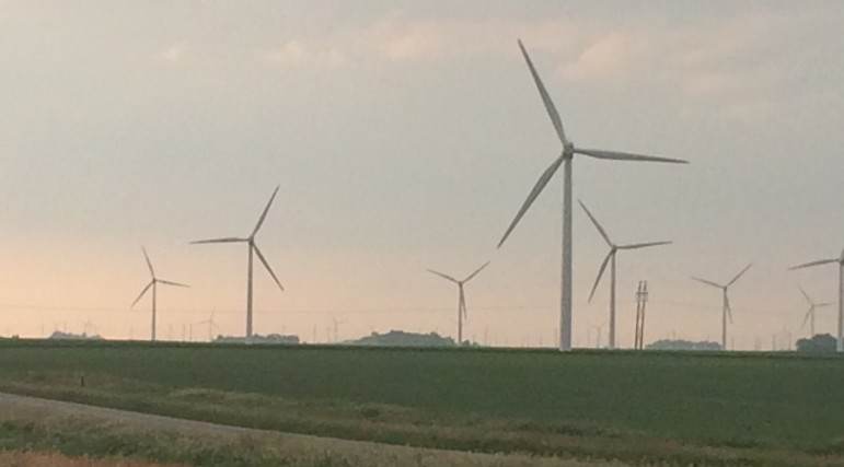 Wind turbines the evening of June 26, 2015, in southern Minnesota near the town of Alpha.