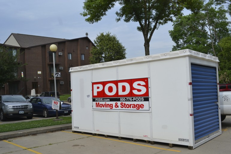 A PODS storage unit off of Gilbert Street in Iowa City on July 28, 2015.