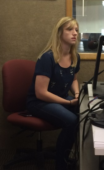 IowaWatch summer 2015 reporting intern Makayla Tendall speaking on KXIC radio, Iowa City, on July 21, 2015.