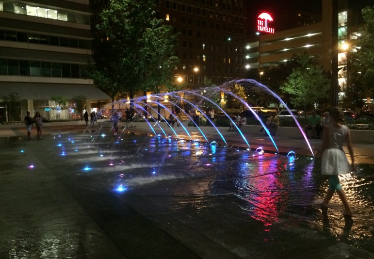This fountain is part of the recently revamped Cowles Commons in downtown Des Moines that serves as an urban recreational spot.