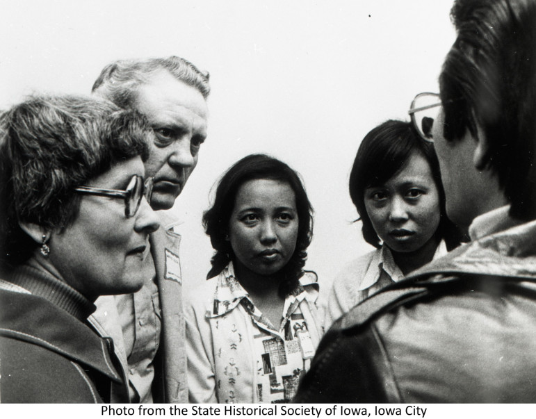 Vietnamese refugees gather in Des Moines in 1975 with Iowans who helped them resettle in the state. Iowa was a lead state taking Vietnamese refugees after the fall of Saigon at the end of the Vietnam War.