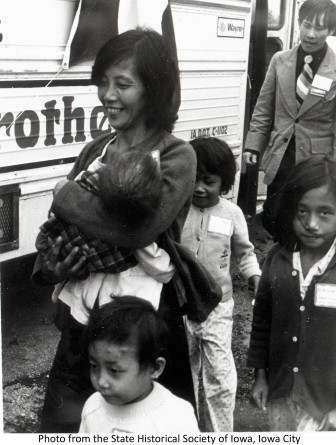 Unidentified Vietnamese refugees in Des Moines in 1975.
