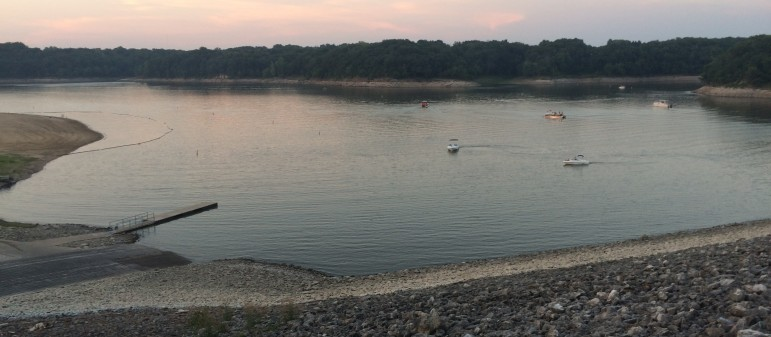The Coralville Lake beach and boat dock near the Coralville Dam the evening of Friday, Aug. 14, 2015.