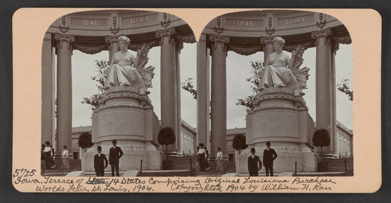 The statue representing Iowa in the terrace of 14 states comprising part of the original Louisiana Purchase at the World's Fair St. Louis in 1904.