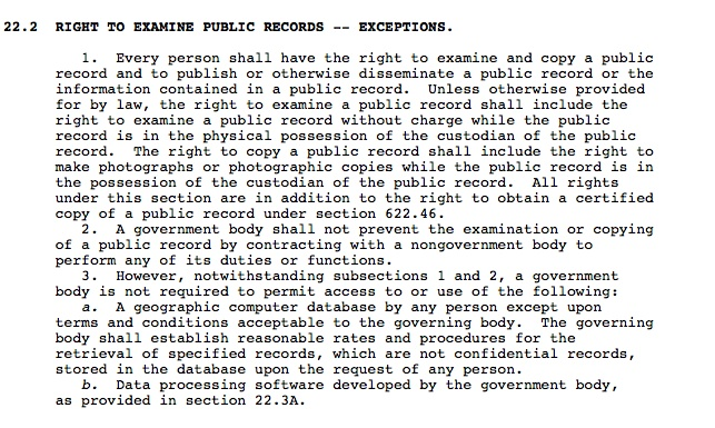 Iowa Code provision for inspecting public records.