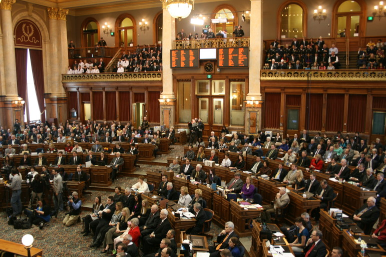 The Iowa House of Representatives is shown on the opening day of a legislative session on January 13, 2014.