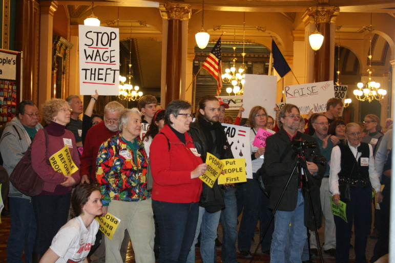 Protesters gathered during Iowa Citizens For Community Improvement's 'Day at the Capitol' on Jan. 13, 2014.