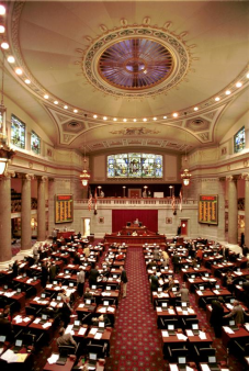 The House Chamber in the Missouri State Capitol shown in 2001.