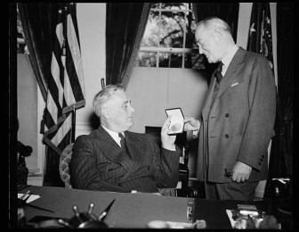 "President Franklin Roosevelt awarded George M. Cohan the Gold Medal for creating popular war songs during World War II. Mary Jane Walsh starred with Cohan in ""I'd Rather Be Right"" where he portrayed the President in 1937."