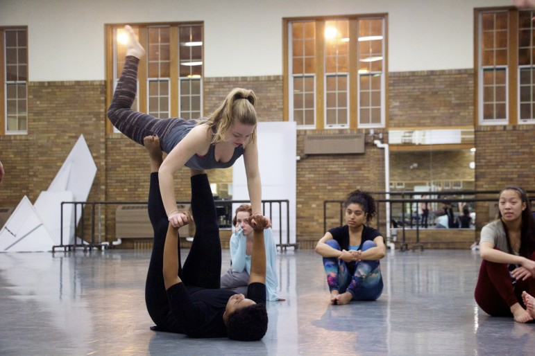 Members of the 2016 University of Iowa Dancers in Company troupe practice during a Feb. 11 rehearsal for their upcoming Water Works program, which features six dances themed around water.