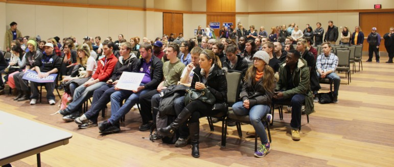 Democratic caucus-goers at the University of Northern Iowa's Maucker Union in Cedar Falls, Iowa, the night of Feb. 1, 2016.