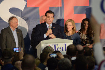 Ted Cruz speaking at the Iowa State Fair Elwell Family Food center in Des Moines after winning the Iowa Republican presidential precinct caucus preference vote on Feb. 1, 2016.