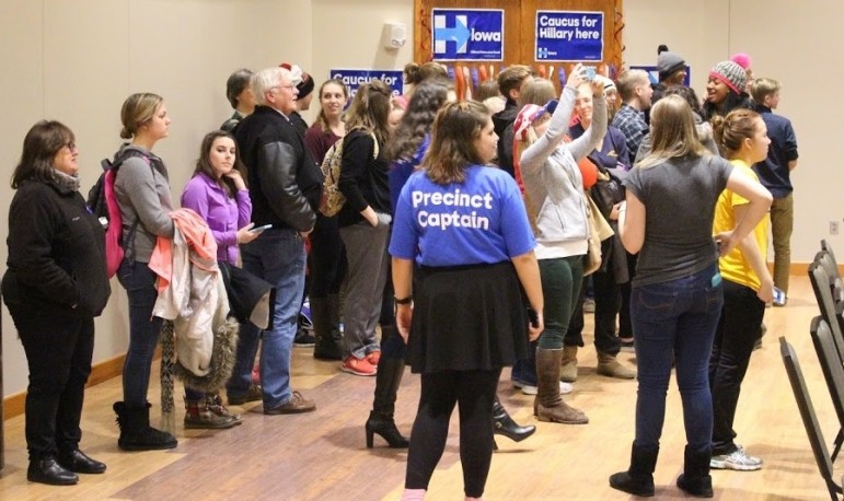 Democratic caucus-goers at the University of Northern Iowa's Maucker Union form viable groups for delegates the night of Feb. 1, 2016.