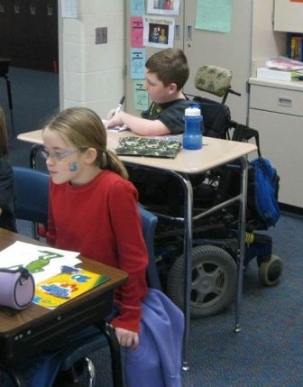 Cael Rudkin was in third grade in this classroom picture taken in 2011, sitting behind classmate Emily Trickey.