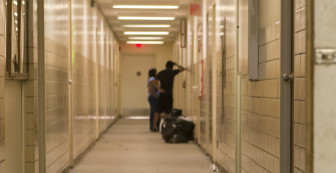 A hallway at the Nightingale camp in Rantoul, Illinois, on Sept. 29, 2014.