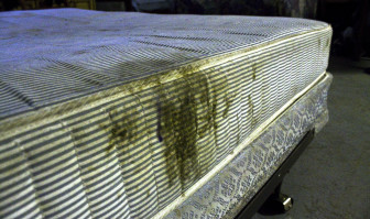 A mattress at the Nightingale camp after a day's work in Rantoul, Illinois, on Sept. 29, 2014.