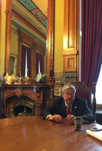 Gov. Terry Branstad spoke with IowaWatch summer intern reporters Brittany Robb and Thomas Nelson on July 7, 2016.