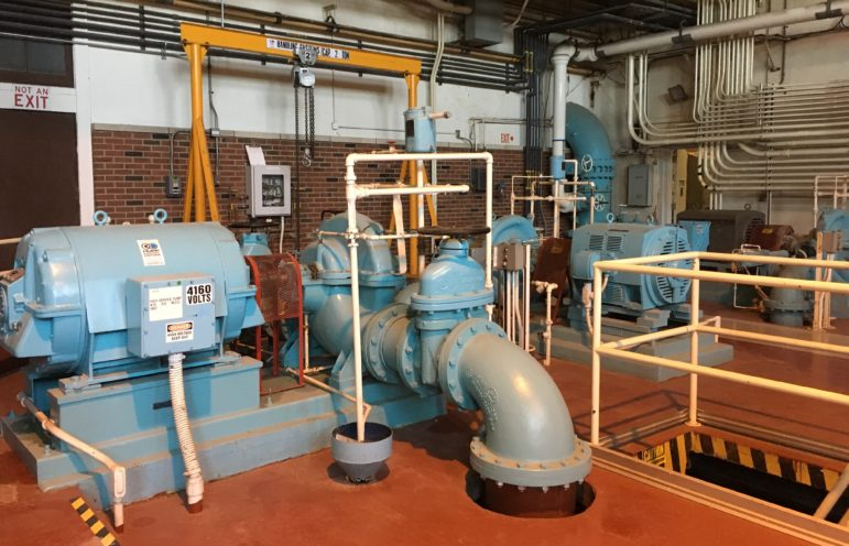 The final stage of drinking water treatment at the East River Station in Davenport, Iowa, involves pumping the finished product out to service areas. This treatment plant serves Davenport and Bettendorf, Iowa, consumers.